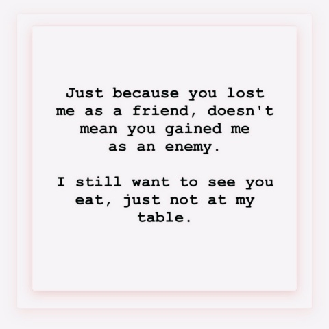 Just because you lost me as a friend doesn't mean you gained me as an enemy. I'm bigger than that. I still wanna see you eat, just not at my table.
